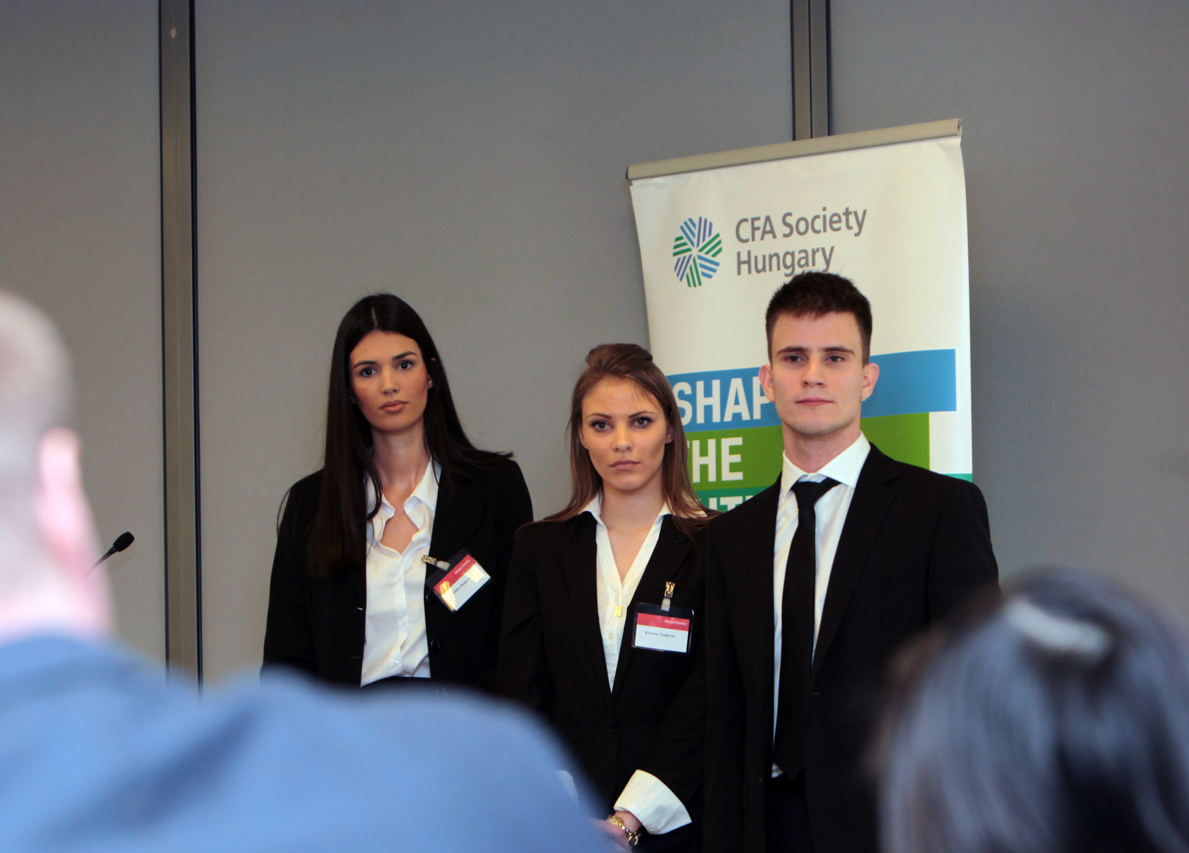 BUDAPEST, HUNGARY - FRIDAY, JANUARY 22, 2016: Students from universities in Hungary and Serbia compete in the annual CFA sponsored pitch fest. The event was held at Morgan Stanley.   Photographer: Mark Milstein/ Northfoto