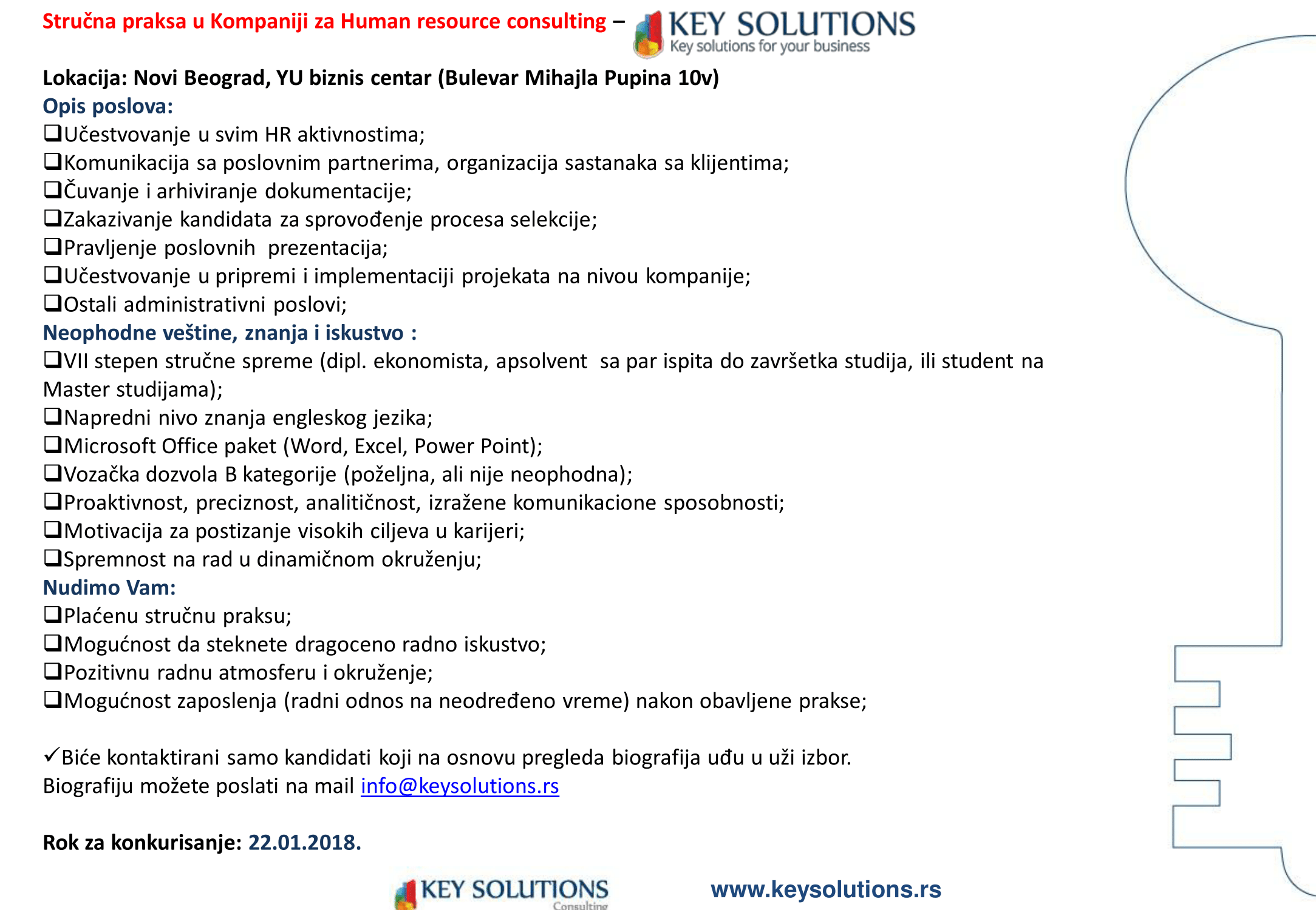 Oglas za Stručnu praksu-Key Solutions Consulting-1