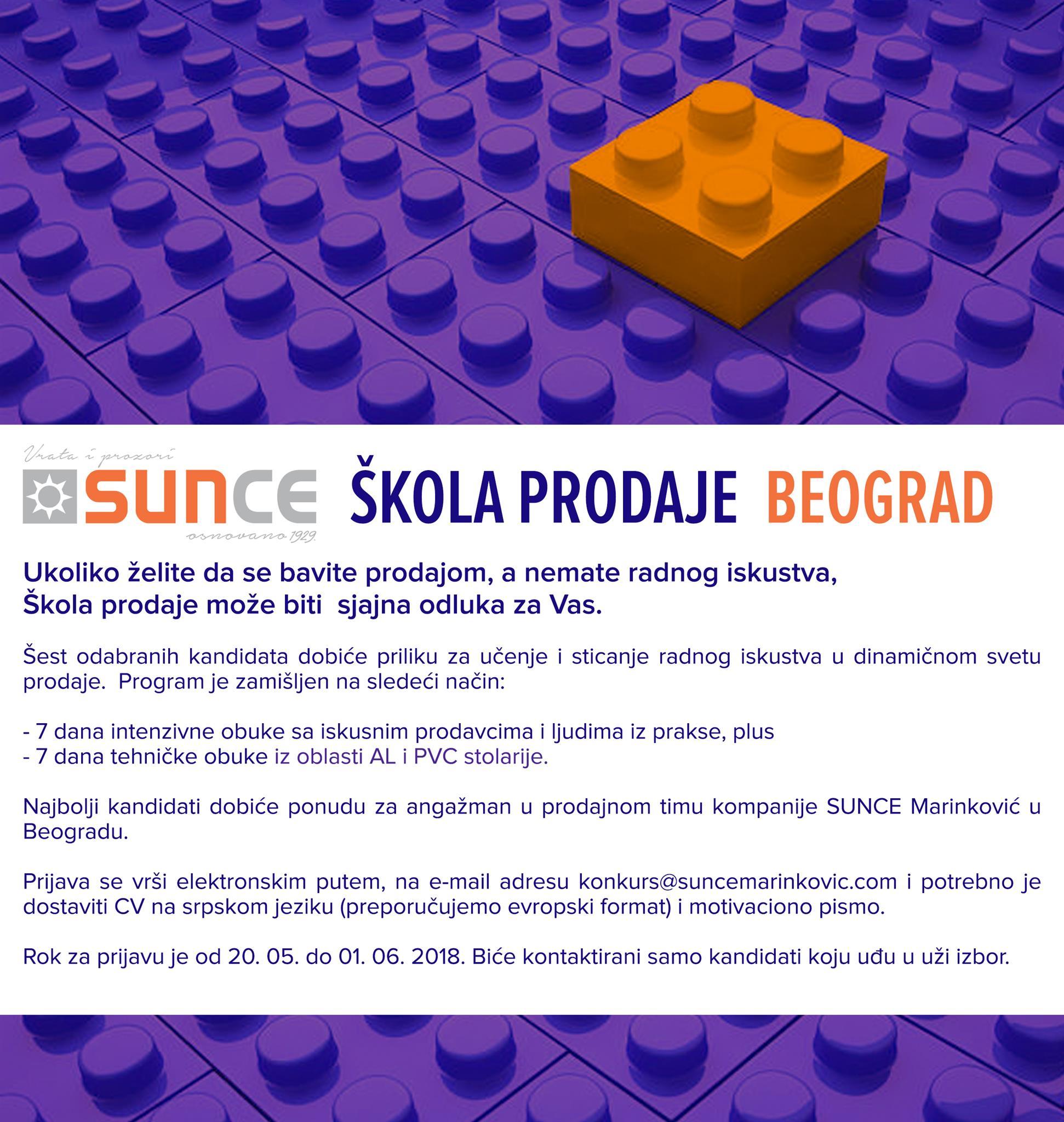 SUNCE skola prodaje