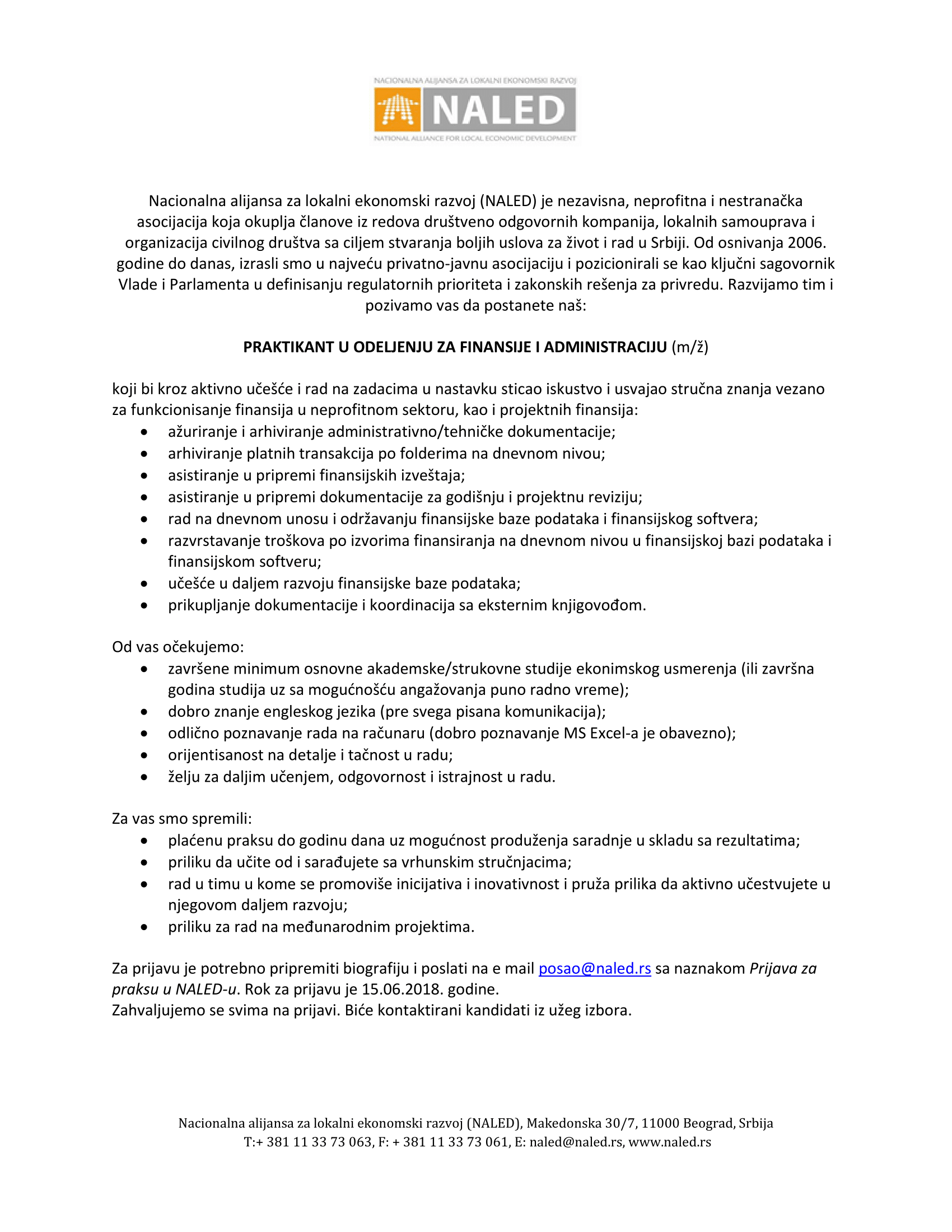 Praktikant u Odeljenju finansija i administracije_poziv za prijavu-1