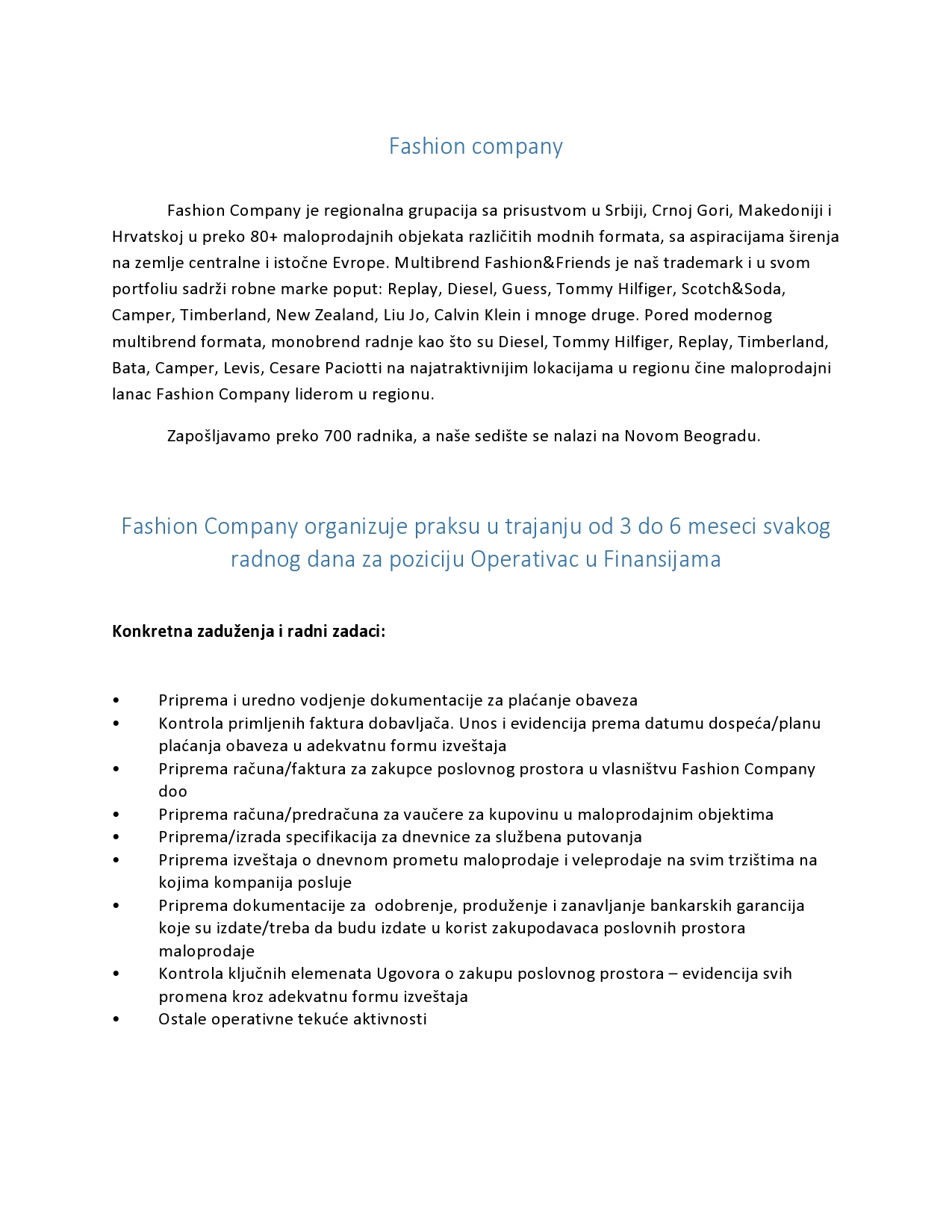 Oglas za Ekonomski fakultet Operativac u finansijama-page0001