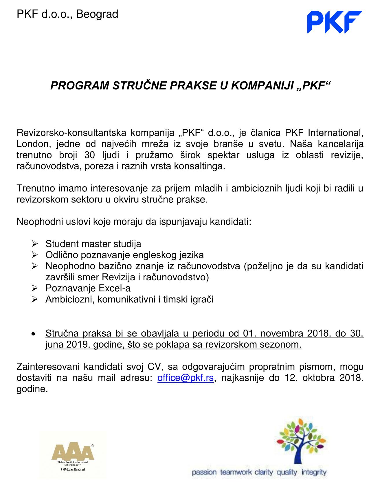 Oglas za strucnu praksu PKF-1
