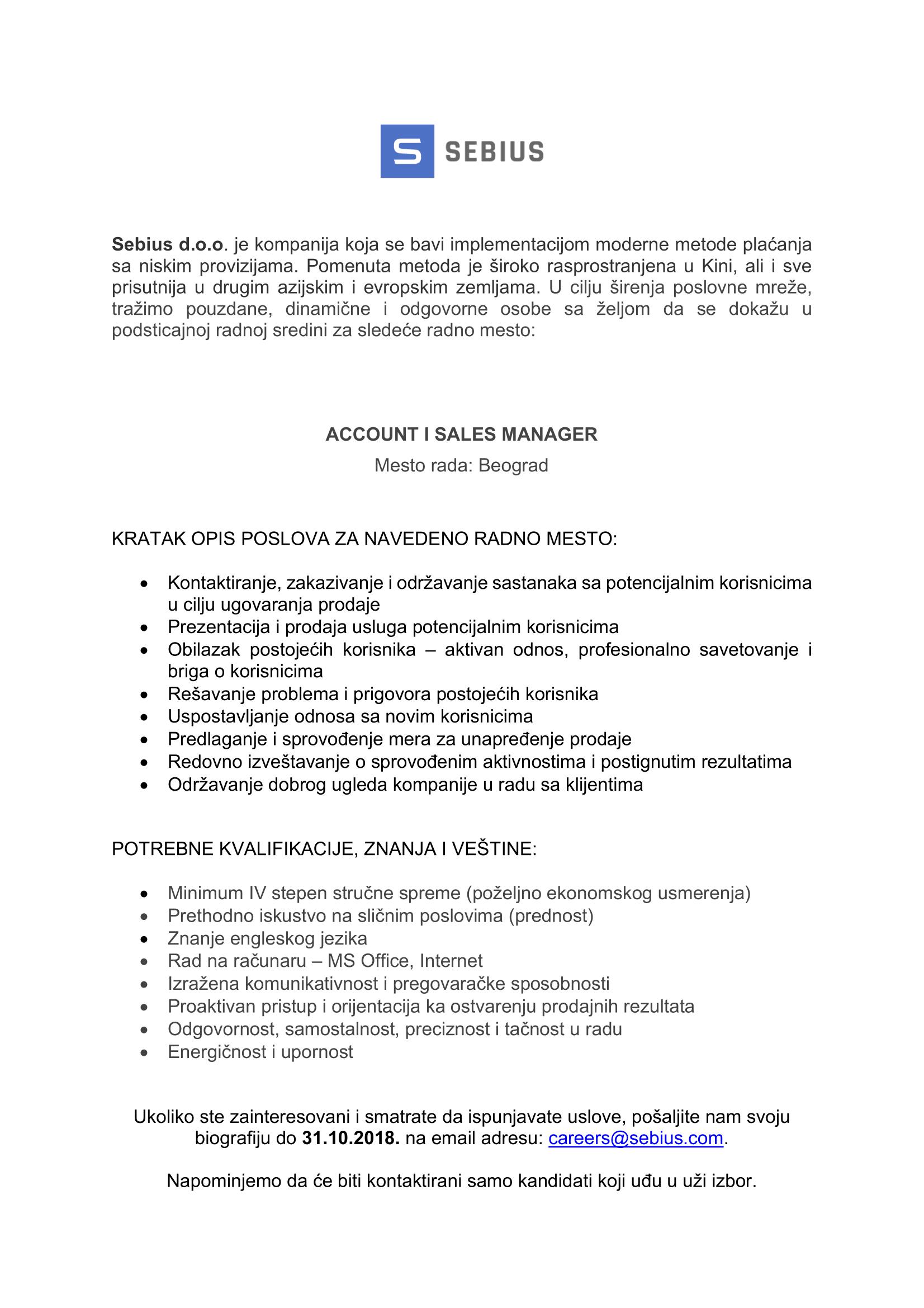Oglas za posao za poziciju ACCOUNT I SALES MANAGER -1